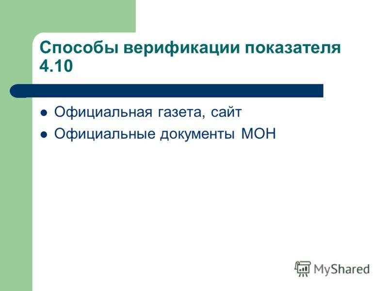Способы верификации показателя 4.10 Официальная газета, сайт Официальные документы МОН