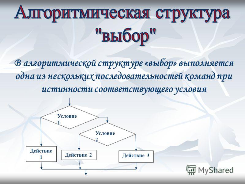 В алгоритмической структуре «выбор» выполняется одна из нескольких последовательностей команд при истинности соответствующего условия Условие 1 Условие 2 Действие 1 Действие 2 Действие 3