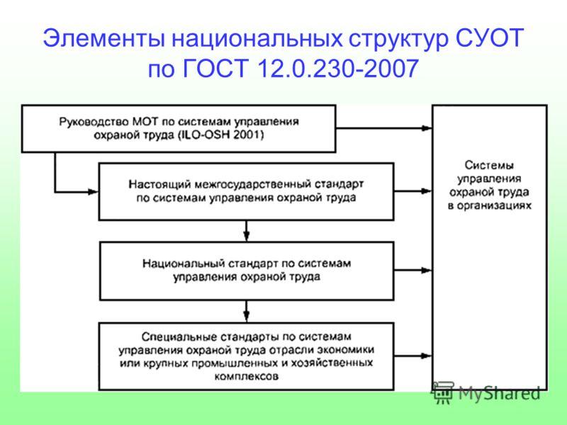 Элементы национальных структур СУОТ по ГОСТ 12.0.230-2007