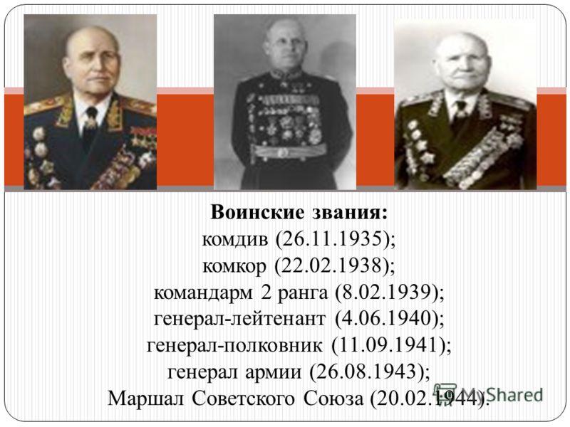 Воинские звания: комдив (26.11.1935); комкор (22.02.1938); командарм 2 ранга (8.02.1939); генерал-лейтенант (4.06.1940); генерал-полковник (11.09.1941); генерал армии (26.08.1943); Маршал Советского Союза (20.02.1944).
