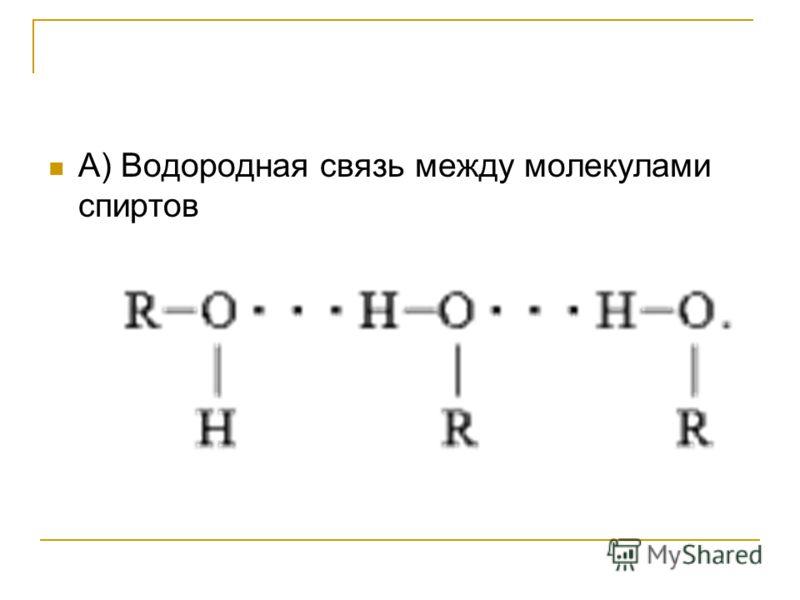 А) Водородная связь между молекулами спиртов