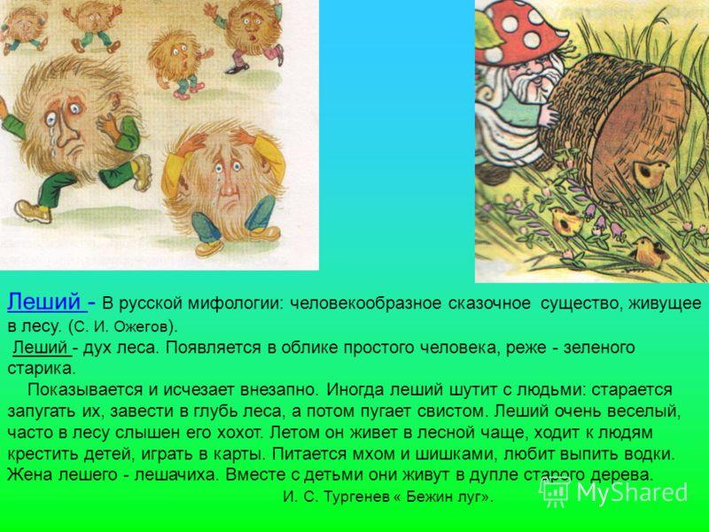 Леший - В русской мифологии: человекообразное сказочное существо, живущее в лесу. ( С. И. Ожегов ). Леший - дух леса. Появляется в облике простого человека, реже - зеленого старика. Показывается и исчезает внезапно. Иногда леший шутит с людьми: стара