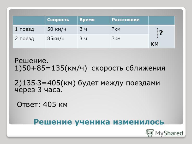Решение ученика изменилось Решение. 1)50+85=135(км/ч) скорость сближения 2)1353=405(км) будет между поездами через 3 часа. Ответ: 405 км СкоростьВремяРасстояние 1 поезд50 км/ч3 ч?км 2 поезд85км/ч3 ч?км 17