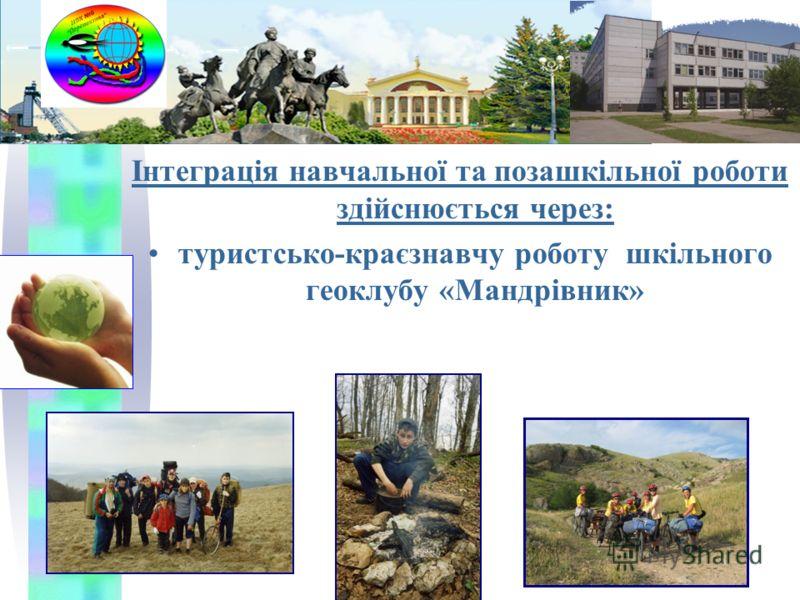 Інтеграція навчальної та позашкільної роботи здійснюється через: туристсько-краєзнавчу роботу шкільного геоклубу «Мандрівник»