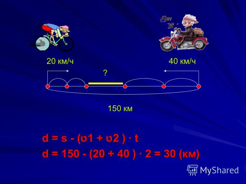20 км/ч 40 км/ч ? 150 км d = s - (ט1 + ט2 ) t d = 150 - (20 + 40 ) 2 = 30 (км)