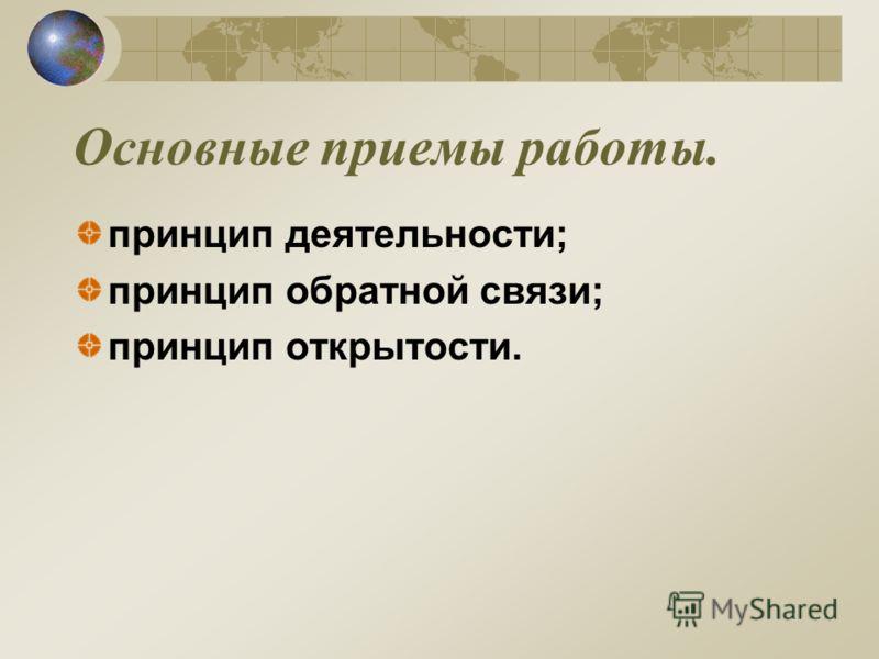 Основные приемы работы. принцип деятельности; принцип обратной связи; принцип открытости.