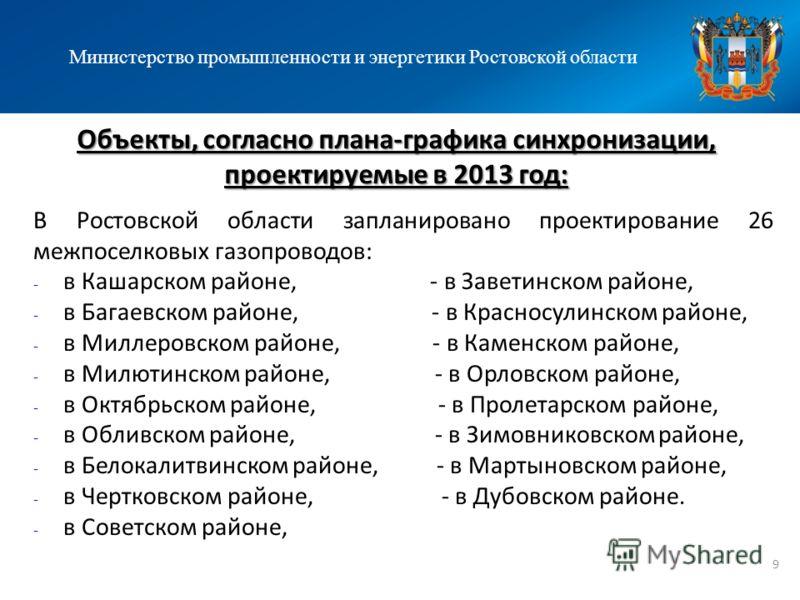 Объекты, согласно плана-графика синхронизации, проектируемые в 2013 год: Министерство промышленности и энергетики Ростовской области В Ростовской области запланировано проектирование 26 межпоселковых газопроводов: - в Кашарском районе, - в Заветинско