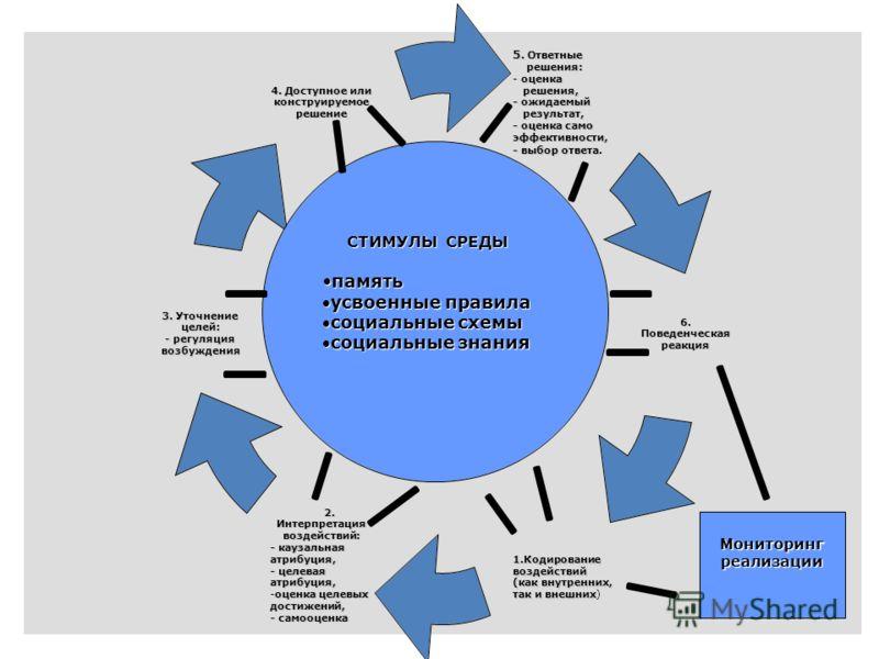 5 СТИМУЛЫ СРЕДЫ памятьпамять усвоенные правилаусвоенные правила социальные схемысоциальные схемы социальные знаниясоциальные знания Мониторинг реализации