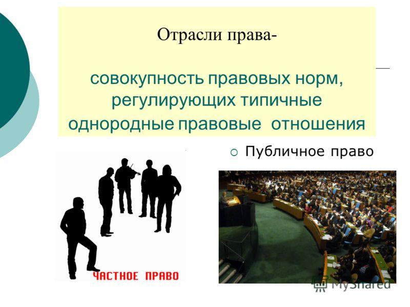 Отрасли права- совокупность правовых норм, регулирующих типичные однородные правовые отношения Публичное право