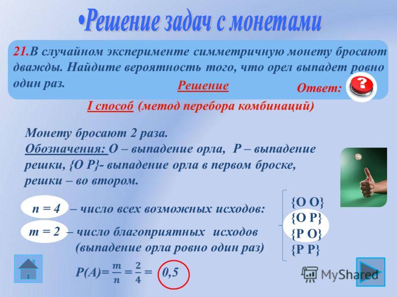 21.В случайном эксперименте симметричную монету бросают дважды. Найдите вероятность того, что орел выпадет ровно один раз. {О О} {О Р} {Р О} {Р Р} n = 4 – число всех возможных исходов: Монету бросают 2 раза. Обозначения: О – выпадение орла, Р – выпад