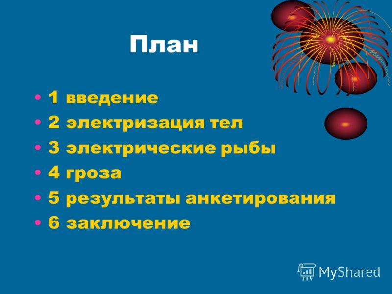 План 1 введение 2 электризация тел 3 электрические рыбы 4 гроза 5 результаты анкетирования 6 заключение