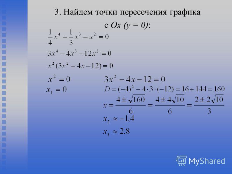 3. 3. Найдем точки пересечения графика с Ох (у = 0):