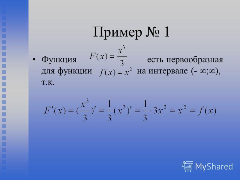 Пример 1 Функция есть первообразная для функции на интервале (- ;), т.к.