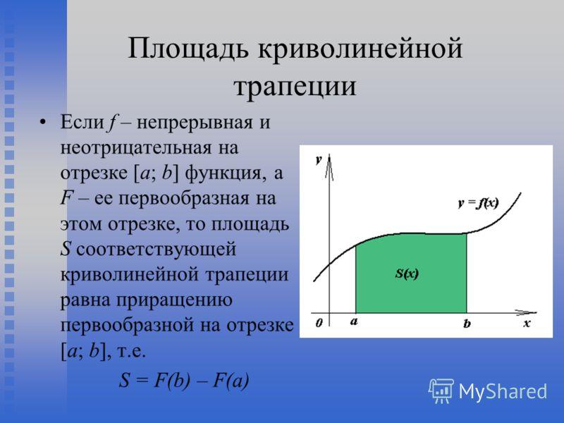 Площадь криволинейной трапеции Если f – непрерывная и неотрицательная на отрезке [a; b] функция, а F – ее первообразная на этом отрезке, то площадь S соответствующей криволинейной трапеции равна приращению первообразной на отрезке [a; b], т.е. S = F(