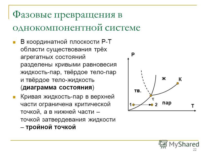 22 Фазовые превращения в однокомпонентной системе В координатной плоскости Р-Т области существования трёх агрегатных состояний разделены кривыми равновесия жидкость-пар, твёрдое тело-пар и твёрдое тело-жидкость (диаграмма состояния) Кривая жидкость-п