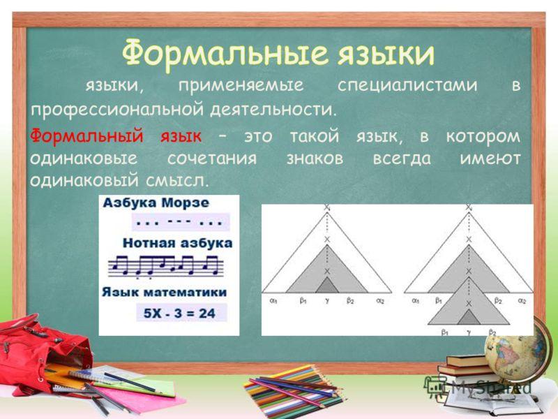 языки, применяемые специалистами в профессиональной деятельности. Формальный язык – это такой язык, в котором одинаковые сочетания знаков всегда имеют одинаковый смысл.