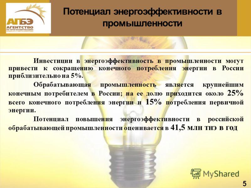 Потенциал энергоэффективности в промышленности 5 Инвестиции в энергоэффективность в промышленности могут привести к сокращению конечного потребления энергии в России приблизительно на 5%. Обрабатывающая промышленность является крупнейшим конечным пот