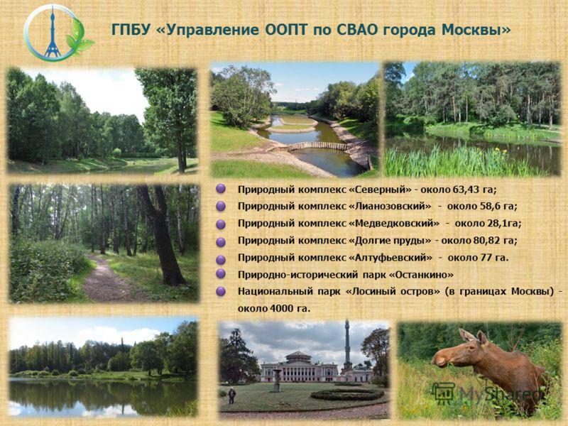 ГПБУ «Управление ООПТ по СВАО города Москвы» Природный комплекс «Северный» - около 63,43 га; Природный комплекс «Лианозовский» - около 58,6 га; Природный комплекс «Медведковский» - около 28,1га; Природный комплекс «Долгие пруды» - около 80,82 га; При