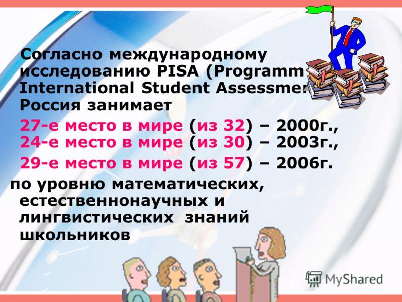 Согласно международному исследованию PISA (Programm for International Student Assessment) Россия занимает 27-е место в мире (из 32) – 2000г., 24-е место в мире (из 30) – 2003г., 29-е место в мире (из 57) – 2006г. по уровню математических, естественно