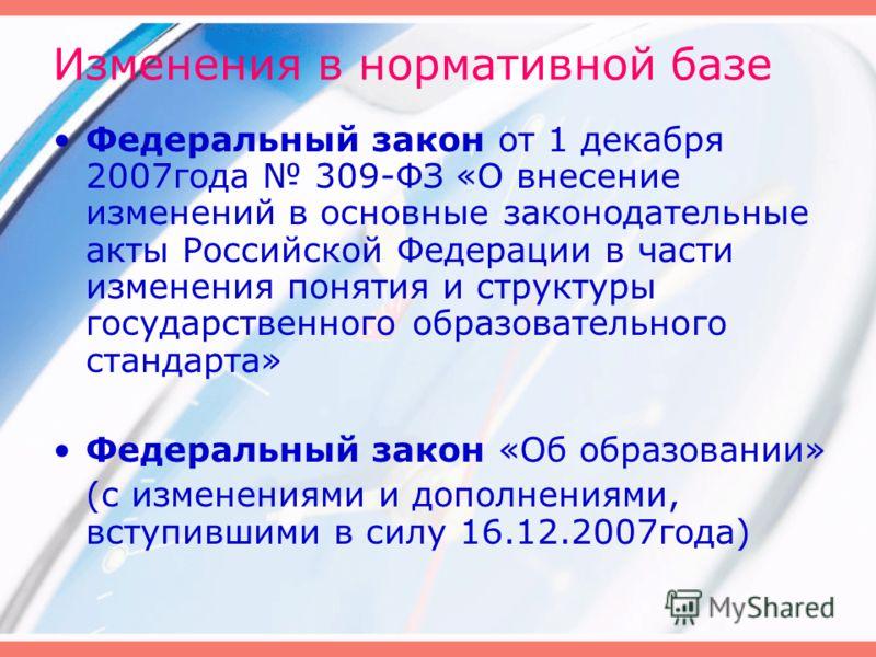 Изменения в нормативной базе Федеральный закон от 1 декабря 2007года 309-ФЗ «О внесение изменений в основные законодательные акты Российской Федерации в части изменения понятия и структуры государственного образовательного стандарта» Федеральный зако