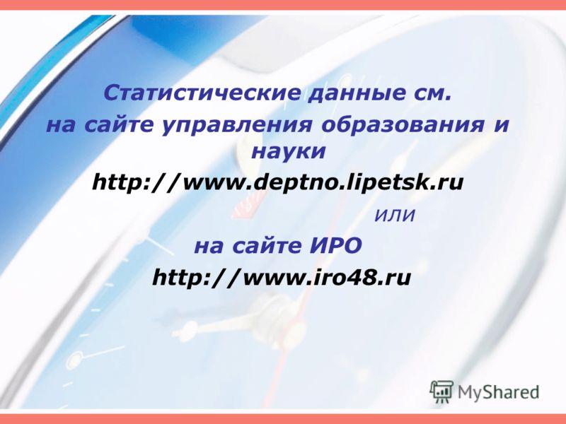 Статистические данные см. на сайте управления образования и науки http://www.deptno.lipetsk.ru или на сайте ИРО http://www.iro48.ru