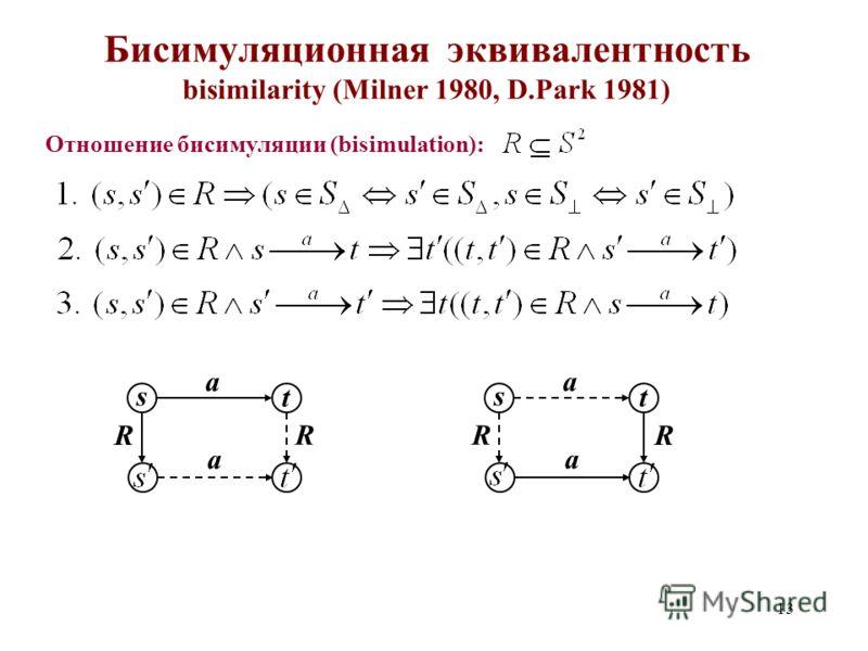 13 Бисимуляционная эквивалентность bisimilarity (Milner 1980, D.Park 1981) Отношение бисимуляции (bisimulation): a R s a t R a R s a t R