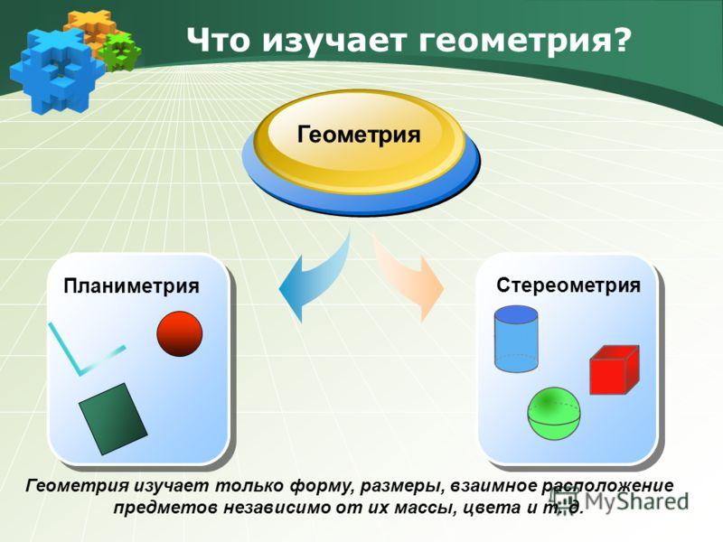 Что изучает геометрия? Геометрия Геометрия изучает только форму, размеры, взаимное расположение предметов независимо от их массы, цвета и т. д. Планиметрия Стереометрия