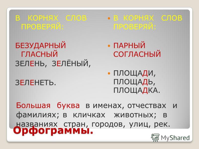 Русский язык 3 класс орфограммы