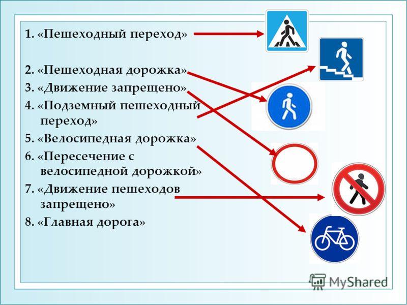 1. «Пешеходный переход» 2. «Пешеходная дорожка» 3. «Движение запрещено» 4. «Подземный пешеходный переход» 5. «Велосипедная дорожка» 6. «Пересечение с велосипедной дорожкой» 7. «Движение пешеходов запрещено» 8. «Главная дорога»