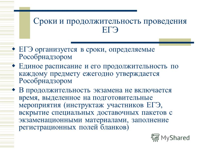 Сроки и продолжительность проведения ЕГЭ ЕГЭ организуется в сроки, определяемые Рособрнадзором Единое расписание и его продолжительность по каждому предмету ежегодно утверждается Рособрнадзором В продолжительность экзамена не включается время, выделе
