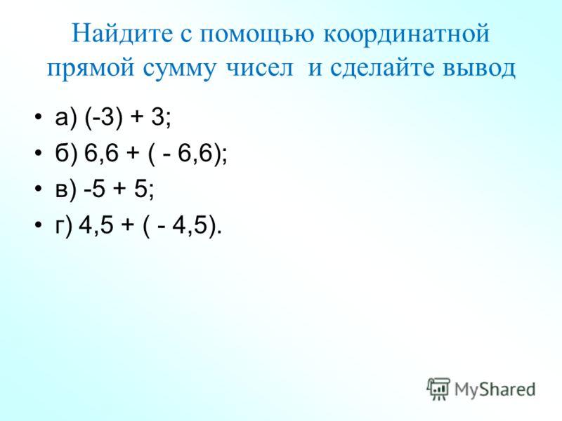 Найдите с помощью координатной прямой сумму чисел и сделайте вывод а) (-3) + 3; б) 6,6 + ( - 6,6); в) -5 + 5; г) 4,5 + ( - 4,5).
