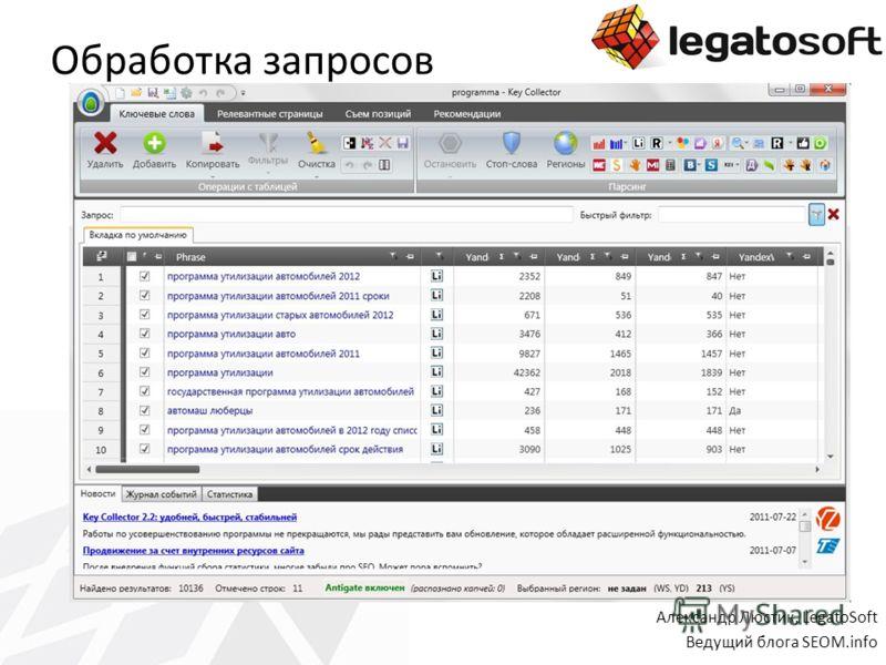 Обработка запросов Александр Люстик, LegatoSoft Ведущий блога SEOM.info
