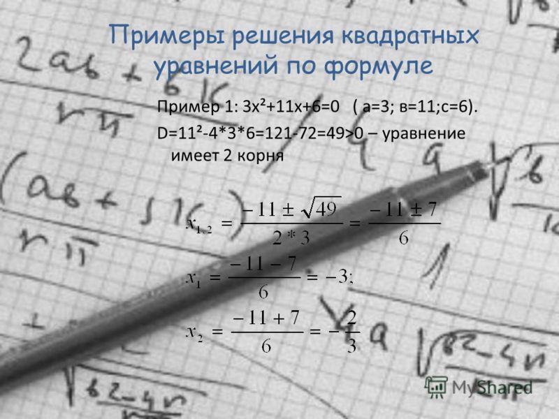 Алгоритм решения квадратного уравнения: ах²+вх+с=0 Вычислить дискриминант D=в²-4ас Если D=0, то 2 корня Если D>0, то 1 корень Если D