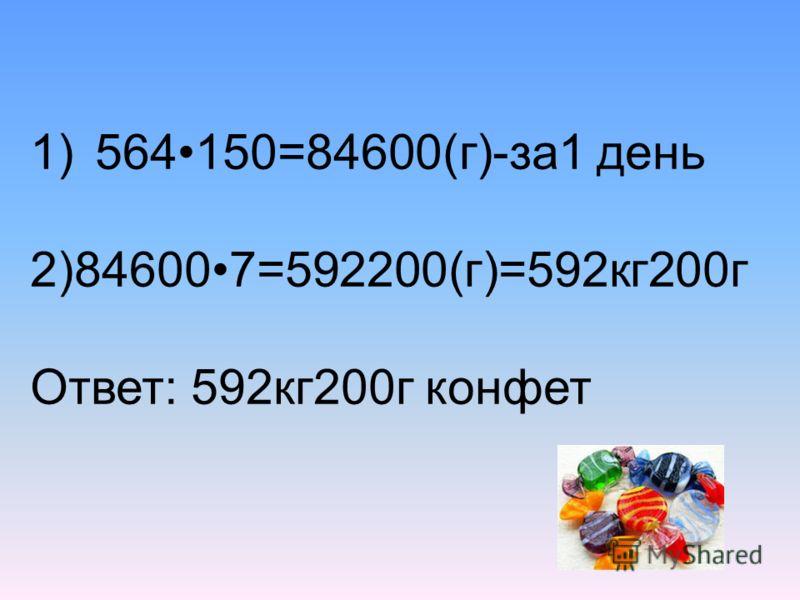 1)564150=84600(г)-за1 день 2)846007=592200(г)=592кг200г Ответ: 592кг200г конфет