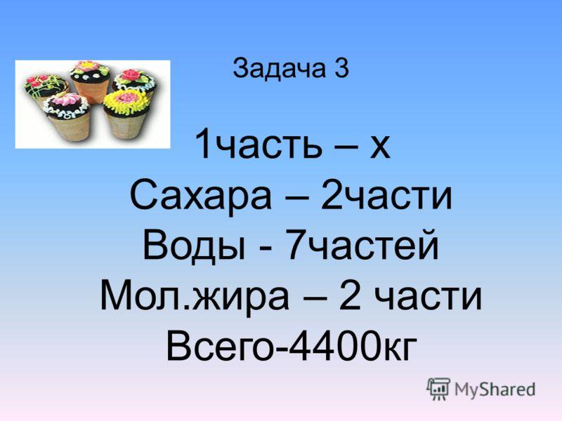 Задача 3 1часть – х Сахара – 2части Воды - 7частей Мол.жира – 2 части Всего-4400кг
