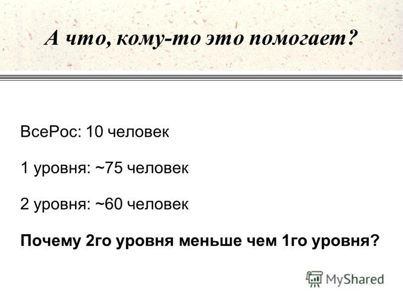 А что, кому-то это помогает? ВсеРос: 10 человек 1 уровня: ~75 человек 2 уровня: ~60 человек Почему 2го уровня меньше чем 1го уровня?
