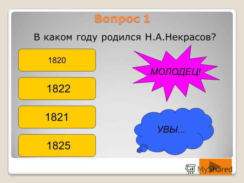 Вопрос 1 В каком году родился Н.А.Некрасов? 1820 1822 1821 1825 УВЫ... МОЛОДЕЦ!