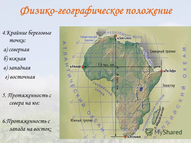 Физико-географическое положение 4.Крайние береговые точки: а) северная б) южная в) западная г) восточная 5. Протяженность с севера на юг: 6.Протяженность с запада на восток:
