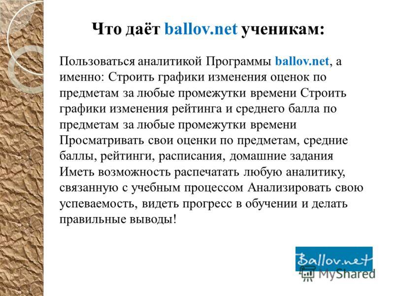 Что даёт ballov.net ученикам: Пользоваться аналитикой Программы ballov.net, а именно: Строить графики изменения оценок по предметам за любые промежутки времени Строить графики изменения рейтинга и среднего балла по предметам за любые промежутки време