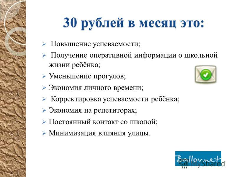 30 рублей в месяц это: Повышение успеваемости; Получение оперативной информации о школьной жизни ребёнка; Уменьшение прогулов; Экономия личного времени; Корректировка успеваемости ребёнка; Экономия на репетиторах; Постоянный контакт со школой; Миними
