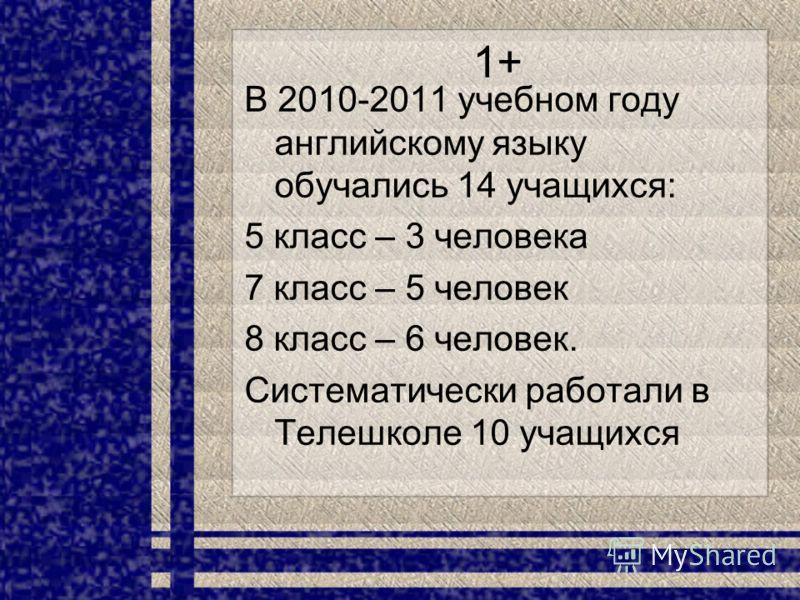 1+ В 2010-2011 учебном году английскому языку обучались 14 учащихся: 5 класс – 3 человека 7 класс – 5 человек 8 класс – 6 человек. Систематически работали в Телешколе 10 учащихся