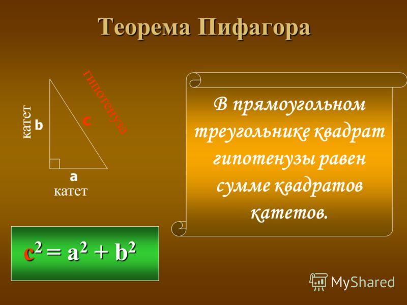 Теорема Пифагора катет гипотенуза а b c с 2 = a 2 + b 2 В прямоугольном треугольнике квадрат гипотенузы равен сумме квадратов катетов.