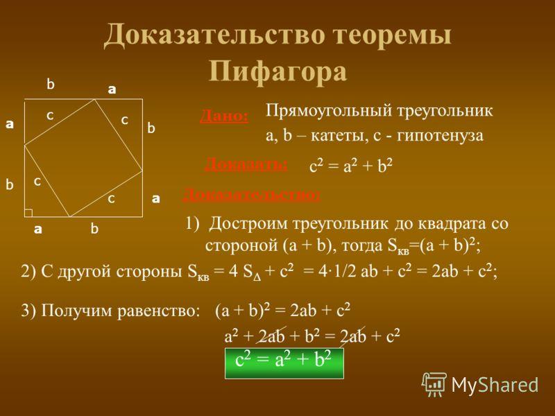 c 2 = а 2 + b 2 3) Получим равенство: (a + b) 2 = 2ab + c 2 a 2 + 2ab + b 2 = 2ab + c 2 Доказательство теоремы Пифагора а b c Дано: Прямоугольный треугольник а, b – катеты, с - гипотенуза Доказать: c 2 = а 2 + b 2 Доказательство: 2) С другой стороны