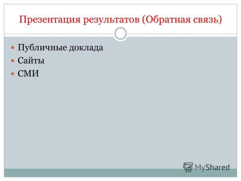 Презентация результатов (Обратная связь) Публичные доклада Сайты СМИ