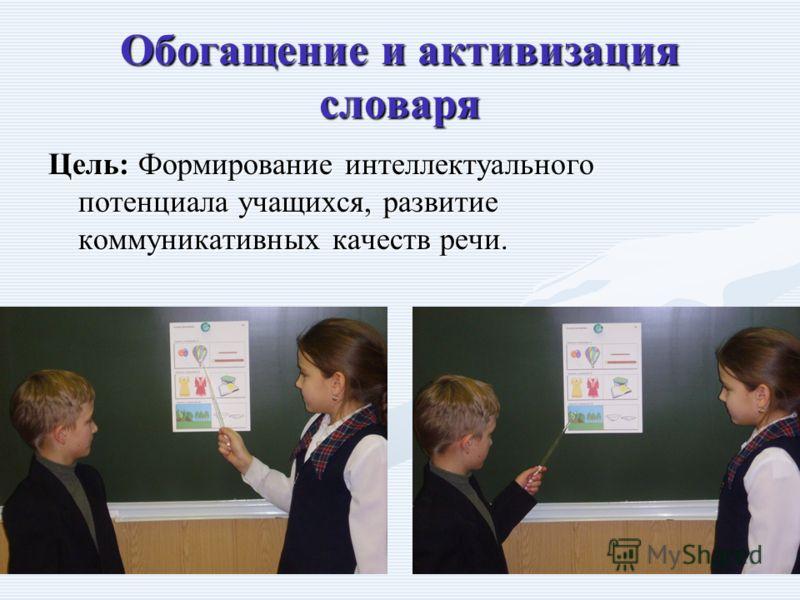 Обогащение и активизация словаря Цель: Формирование интеллектуального потенциала учащихся, развитие коммуникативных качеств речи.