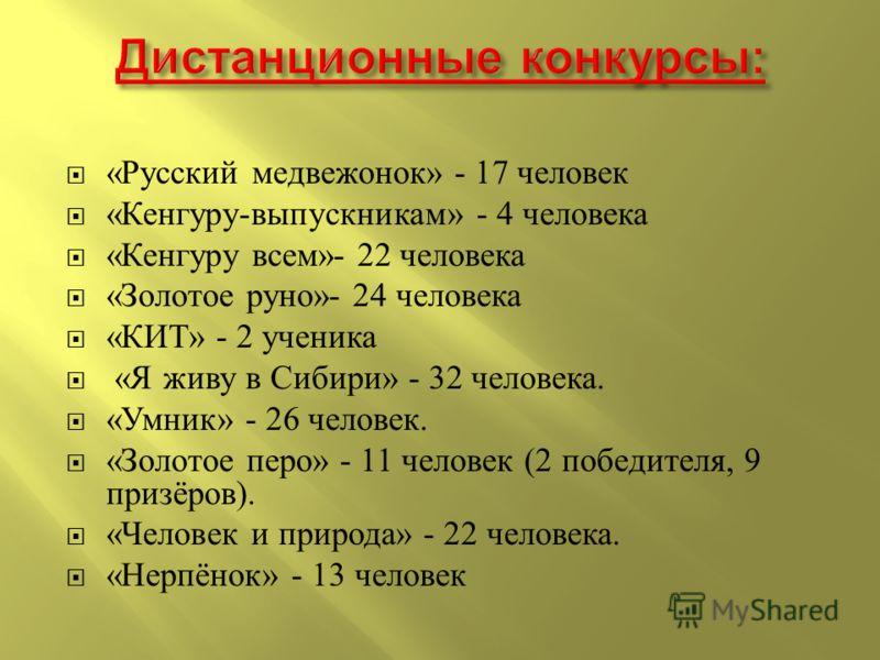 « Русский медвежонок » - 17 человек « Кенгуру - выпускникам » - 4 человека « Кенгуру всем »- 22 человека « Золотое руно »- 24 человека « КИТ » - 2 ученика « Я живу в Сибири » - 32 человека. « Умник » - 26 человек. « Золотое перо » - 11 человек (2 поб