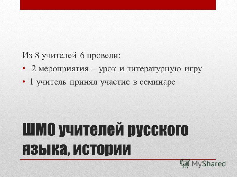 ШМО учителей русского языка, истории Из 8 учителей 6 провели: 2 мероприятия – урок и литературную игру 1 учитель принял участие в семинаре