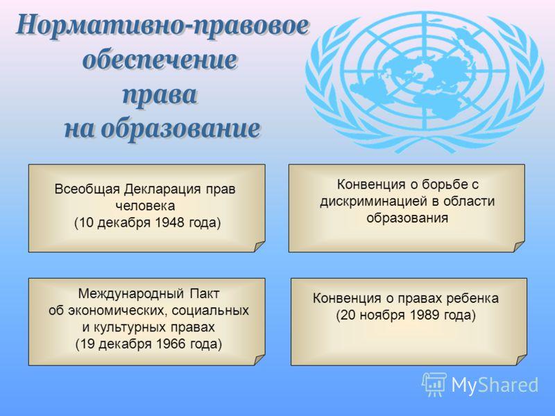 Всеобщая Декларация прав человека (10 декабря 1948 года) Конвенция о борьбе с дискриминацией в области образования Международный Пакт об экономических, социальных и культурных правах (19 декабря 1966 года) Конвенция о правах ребенка (20 ноября 1989 г