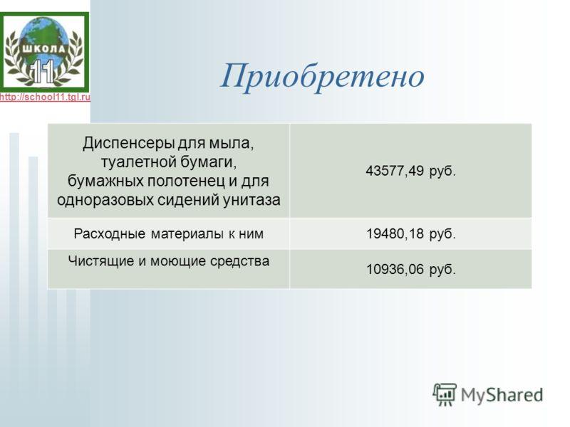 http://school11.tgl.ru Приобретено Диспенсеры для мыла, туалетной бумаги, бумажных полотенец и для одноразовых сидений унитаза 43577,49 руб. Расходные материалы к ним19480,18 руб. Чистящие и моющие средства 10936,06 руб.