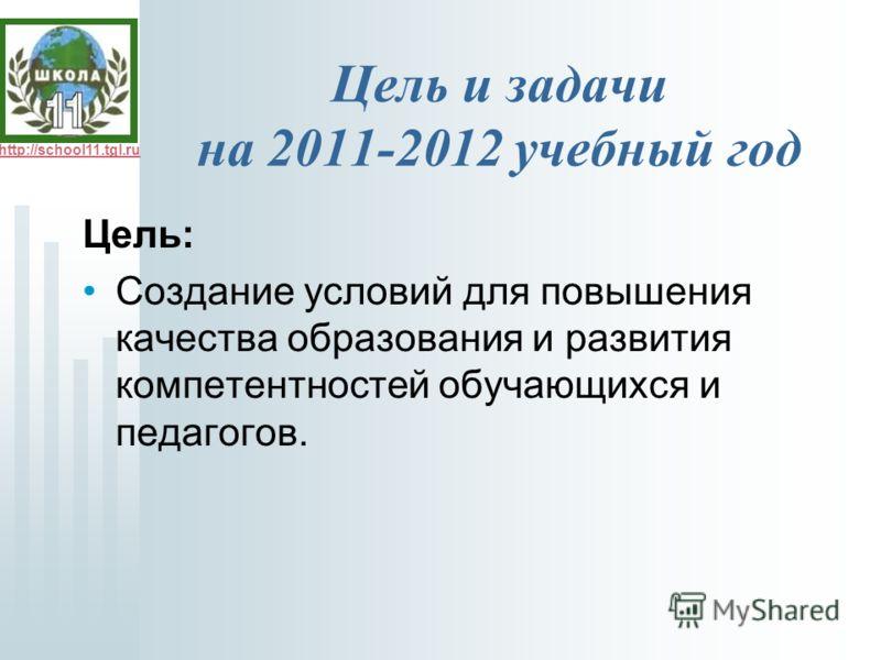 http://school11.tgl.ru Цель и задачи на 2011-2012 учебный год Цель: Создание условий для повышения качества образования и развития компетентностей обучающихся и педагогов.